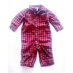 RALPH LAUREN Red Buffalo Check Collared One Piece